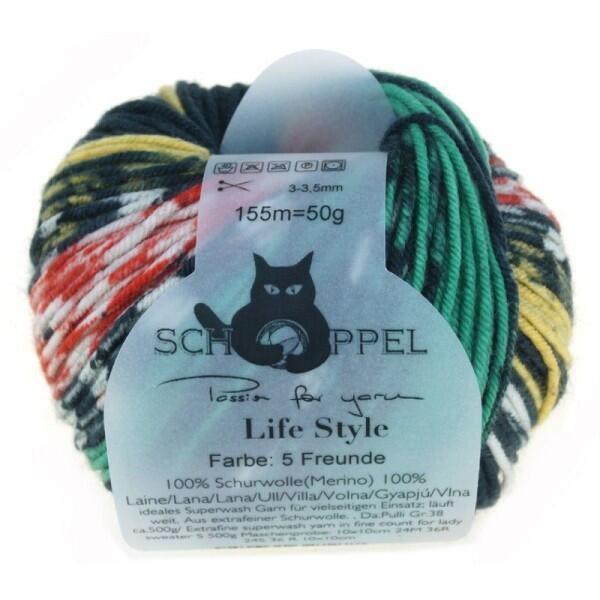 Schoppel Wolle Life Style magic - Wolle extra fein vom Merinoschaf  Farbe: 5 Freunde