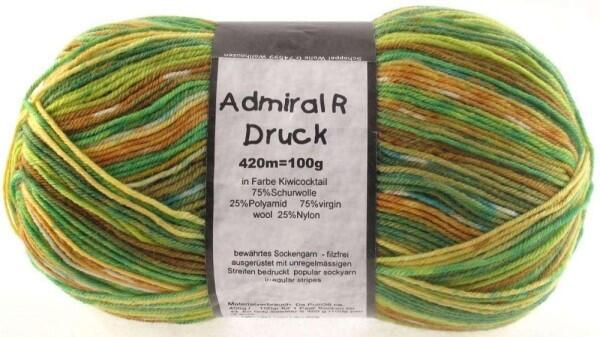 Schoppel Wolle Admiral R Druck 4-fach Sockengarn selbstmusternd Farbe Kiwi-Cocktail