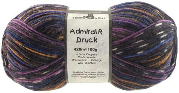 Schoppel Wolle Admiral R Druck 4-fach Sockengarn selbstmusternd Farbe Kleopatra