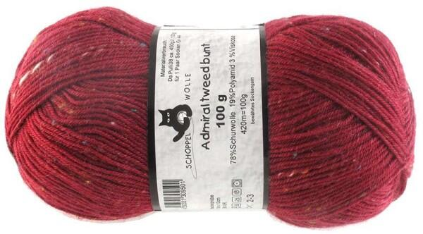 Schoppel Wolle Admiral 4-fach Tweed Sockengarn Farbe Bordeaux