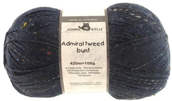 Schoppel Wolle Admiral 4-fach Tweed Sockengarn Farbe Tinte