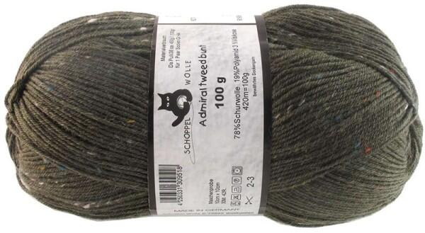 Schoppel Wolle Admiral 4-fach Tweed Sockengarn Farbe Oliv