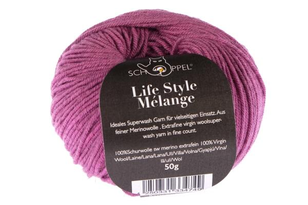 Schoppel Wolle Life Style Melangé - Merino extrafein meliert Farbe: himbeer meliert